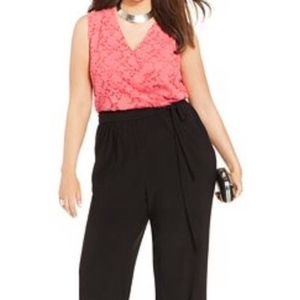 NY Collection Hot Pink and black jumpsuit/romper